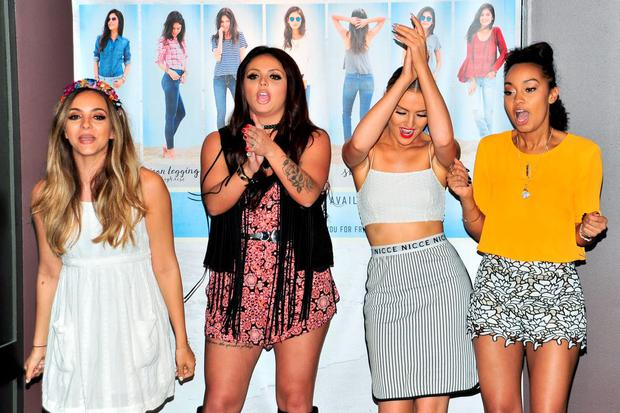 (L-R) Jade Thirlwall, Jesy Nelson, Perrie Edwards and Leigh-Anne Pinnock of Little Mix perform at Hollister Co. on August 6, 2015 in San Diego, California. (Photo by Jerod Harris/Getty Images)