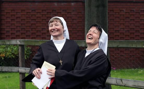 Former BBC political correspondent Martina Purdy and one time family barrister Elaine Kelly are now novice nuns as they received their veils Pic: Belfast Telegraph