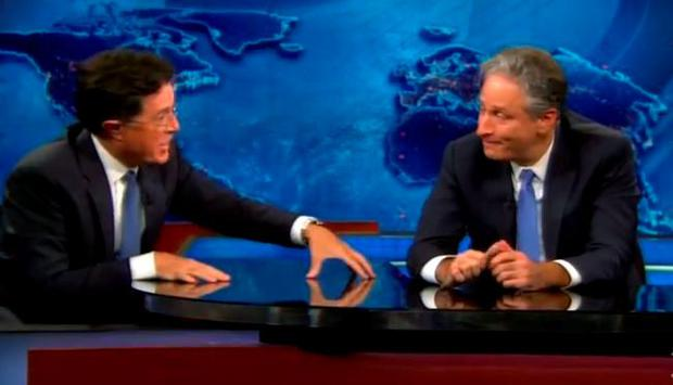 Jon Stewart breaks down with Stephen Colbert on his final The Daily Show