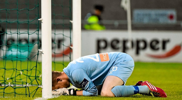 A dejected Shamrock Rovers goalkeeper Craig Hyland, after dropping the ball from a shot from Chris Forrester to give St. Patrick's Athletic the lead.