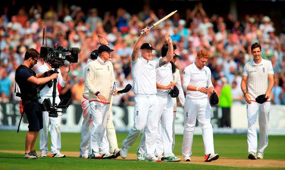 England players celebrate at the end of the match after winning the 4th test and the Ashes during day three of the Fourth Investec Ashes Test at Trent Bridge