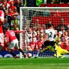 Tottenham's Kyle Walker scores an own goal and the first goal for Manchester United
