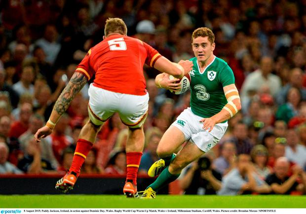 8 August 2015; Paddy Jackson, Ireland, in action against Dominic Day, Wales. Rugby World Cup Warm-Up Match, Wales v Ireland, Millennium Stadium, Cardiff, Wales. Picture credit: Brendan Moran / SPORTSFILE