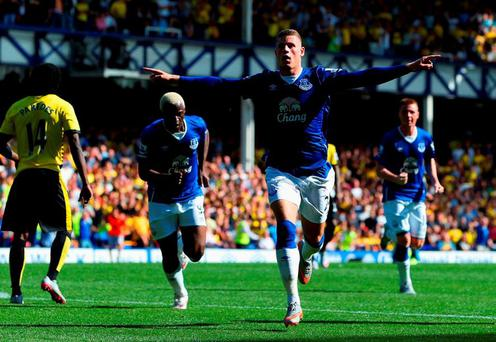 Ross Barkley of Everton celebrates scoring (Photo by Jan Kruger/Getty Images)