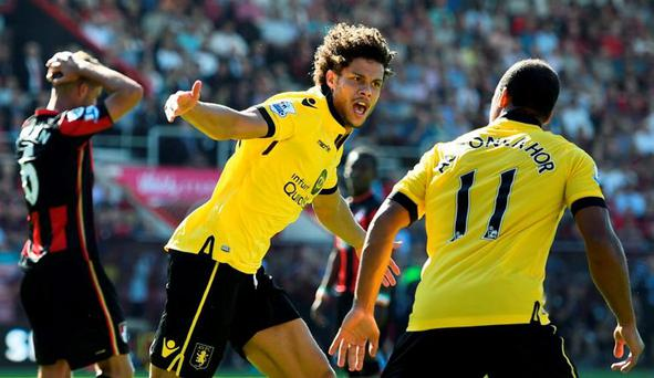 Rudy Gestede celebrates after scoring the first goal for Aston Villa