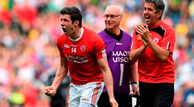 8 August 2015; Sean Cavanagh, Tyrone, celebrates his side's victory. GAA Football All-Ireland Senior Championship Quarter-Final, Monaghan v Tyrone. Croke Park, Dublin. Picture credit: Stephen McCarthy / SPORTSFILE