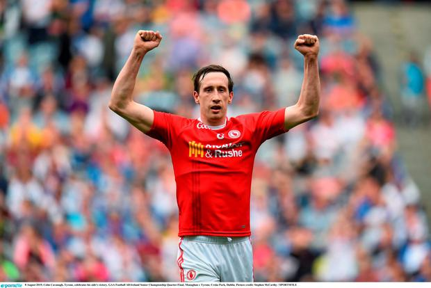 Colm Cavanagh, Tyrone, celebrates his side's victory. GAA Football All-Ireland Senior Championship Quarter-Final, Monaghan v Tyrone. Croke Park, Dublin. Picture credit: Stephen McCarthy / SPORTSFILE