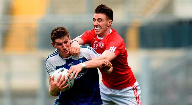 Darren Hughes, Monaghan, in action against Conall McCann, Tyrone. GAA Football All-Ireland Senior Championship Quarter-Final, Monaghan v Tyrone. Croke Park, Dublin. Picture credit: Stephen McCarthy / SPORTSFILE