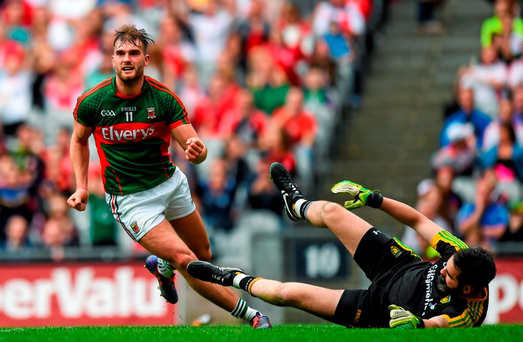 8 August 2015; Aidan O'Shea, Mayo, celebrates after scoring his side's first goal past Donegal goalkeeper Paul Durcan. GAA Football All-Ireland Senior Championship Quarter-Final. Donegal v Mayo, Croke Park, Dublin. Picture credit: Stephen McCarthy / SPORTSFILE