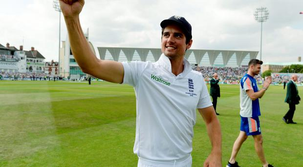 England captain Alastair Cook celebrates after winning the Fourth Test and the Ashes