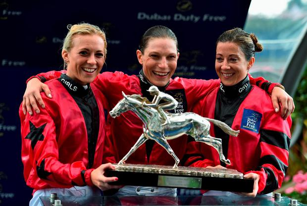 Sammy Jo Bell, Emma-Jayne Wilson and Hayley Turner celebrate their victory in the Shergar Cup
