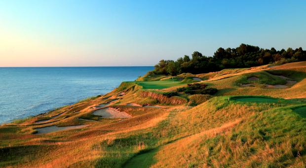 The 223-yard 17th, where designer Pete Dye employs his much-loved device of a testing par three as the penultimate hole