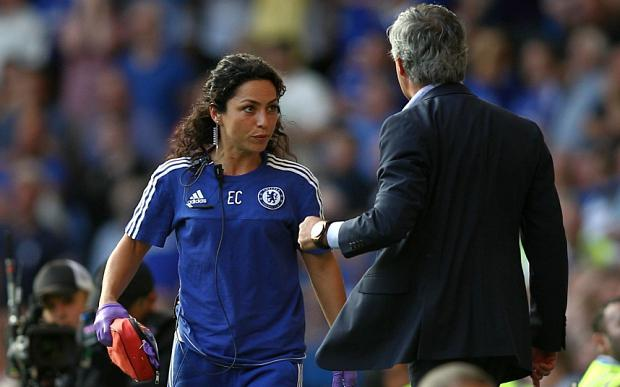 Chelsea's doctor Eva Carneiro appears to have an argument with Jose Mourinho manager of Chelsea during the Barclays Premier League match between Chelsea and Swansea played at Stamford Bridge