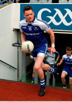 Monaghan captain Conor McManus leads out the team before yesterday's All-Ireland Senior Championship Quarter-Final against Tyrone