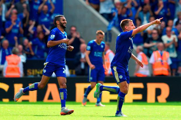 An elated Marc Albrighton celebrates scoring Leicester's fourth goal