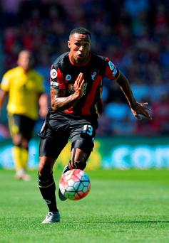 Bournemouth's young English striker Callum Wilson sprints with the ball
