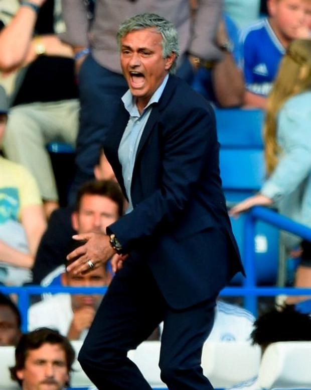 Jose Mourinho Manager of Chelsea gestures during the Barclays Premier League match between Chelsea and Swansea City
