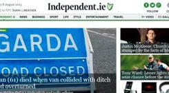 A screengrab of the independent.ie homepage