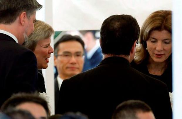 U.S. Under Secretary of State for Arms Control and International Security Rose Gottemoeller (2nd L) and U.S. Ambassador to Japan Caroline Kennedy (R) attend a ceremony commemorating the 70th anniversary of the 1945 atomic bombing of the city at Nagasaki's Peace Park in western Japan August 9, 2015. REUTERS/Toru Hanai