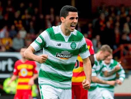 Celtic's Tom Rogic celebrates scoring
