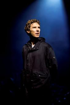 Actor Benedict Cumberbatch performs in Director Lyndsey Turner's production of Hamlet at the Barbican, in London, August 4, 2015, in this handout picture and released August 8, 2015. REUTERS/Johan Persson/Handout via Reuters