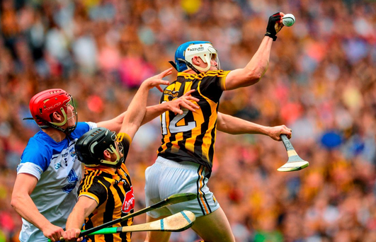An action shot from the All-Ireland hurling semi-final between Kilkenny and Waterford