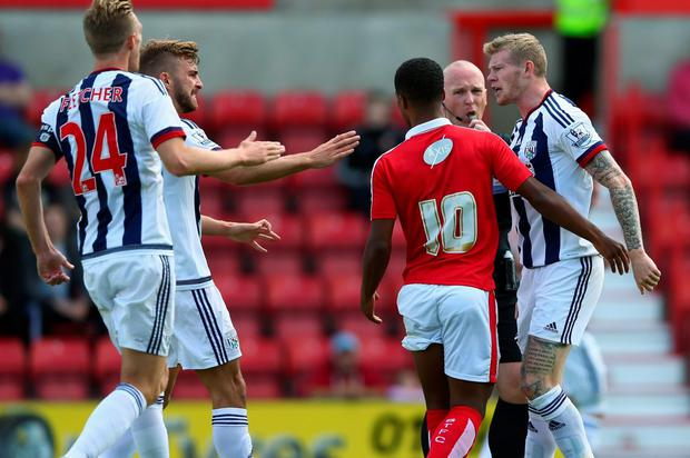 James McClean (far right) in action for his new club West Brom in a pre-season friendly against Swindon