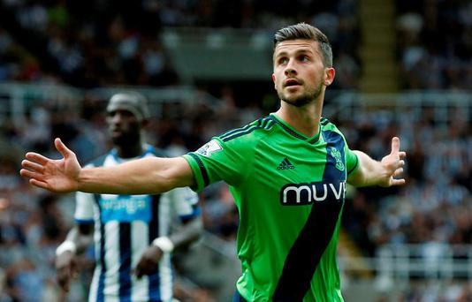 Shane Long celebrates scoring the second goal for Southampton