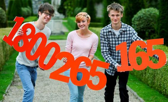 At the launch of the Eircom Exam Helpline were (from left) Jonathan Diebold of Skerries Community College, Catherine Kelly of Loreto Secondary School, Balbriggan and Owen Shepard of Skerries Community College