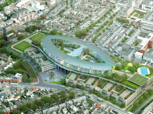 An image of the planned new children's hospital at St James's