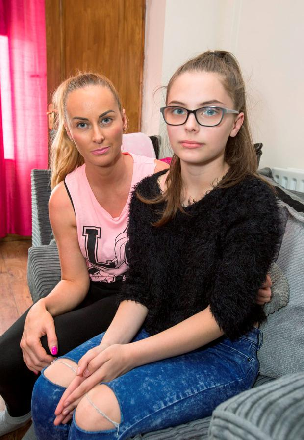 Abbie Reilly (16) pictured with her Mum Karen at her Cabra Home last night. See Laura Larkin Copy, Pic Colin O'Riordan