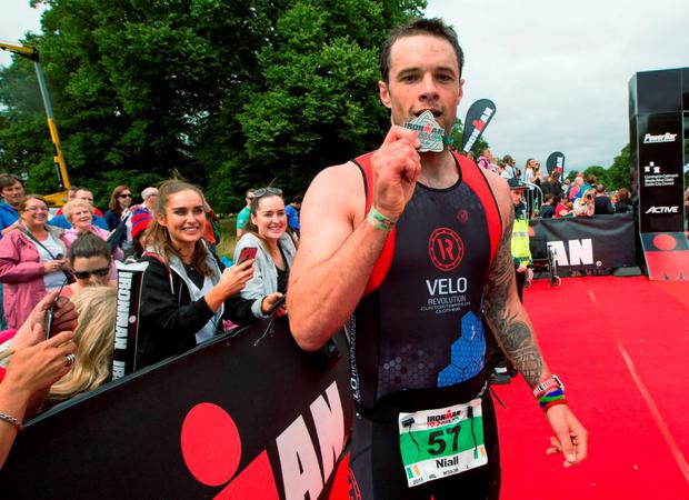 Niall Breslin (Bressie) who completed the Dublin's first Ironman 70.3 triathlon in Phoenix Park. Picture by Fergal Phillips