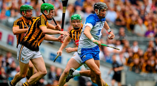 Waterford's Maurice Shanahan, Waterford, in action against Kilkenny's Joey Holden, Shane Prendergast and Paul Murphy in Croke Park. Murphy adopted the sweeper role during the All-Ireland semi-final victory