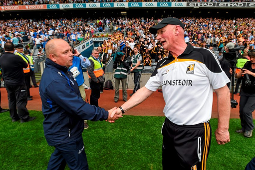 Waterford manager Derek McGrath shakes hands with Kilkenny manager Brian Cody after the game.