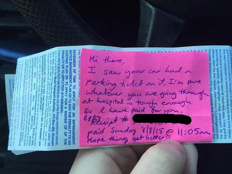 The touching note left on the windscreen