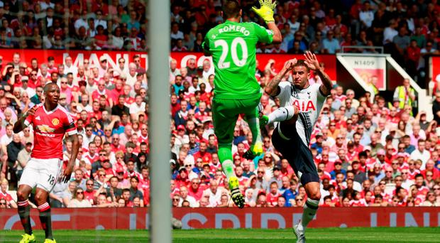 Tottenham's Kyle Walker in action with Manchester United's Sergio Romero