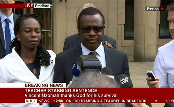 Vincent Uzomah making a statement outside Bradford Crown Court after a 14-year-old boy who bragged on Facebook about stabbing the supply teacher in a racially motivated attack has been sentenced to 11 years detention. Photo: BBC News/PA Wire