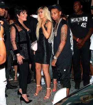 Kylie Jenner, Kris Jenner and Tyga at her 18th birthday party. Picture: Splash News