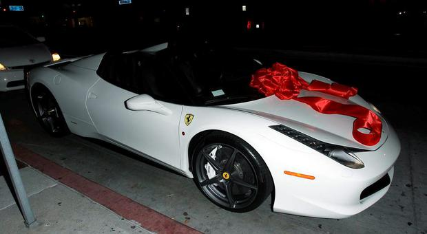 Tyga gifted Kylie Jenner with this Ferrari last year. Picture: Splash News