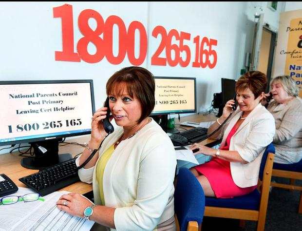 Institute of Guidance Counsellors president Betty McLaughlin and vice-president Mai Kerins at the launch of the exam helpline. Picture: Steve Humphreys