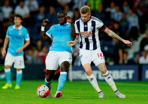 Manchester City's Bacary Sagna in action with West Brom's James McClean