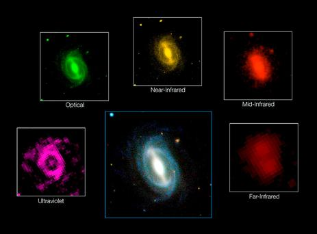 Undated handout composite photo issued by European Southern Observatory showing how a typical galaxy appears at different wavelengths.