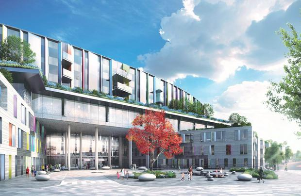 An artist's impression of the entrance to the new National Children's Hospital.