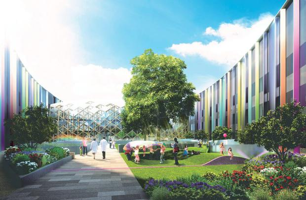 An image of the projected Rainbow Garden in the hospital.