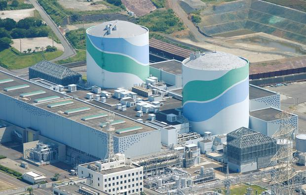 An aerial view shows the No.1 (L) and No.2 reactor buildings at Kyushu Electric Power's Sendai nuclear power station in Satsumasendai, Kagoshima prefecture, Japan REUTERS/Kyodo