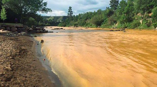 Yellow waste water that had been held behind a barrier near the abandoned Gold King Mine is seen in the Animas River in Durango, Colorado, in this picture from the Colorado Parks and Wildlife Department