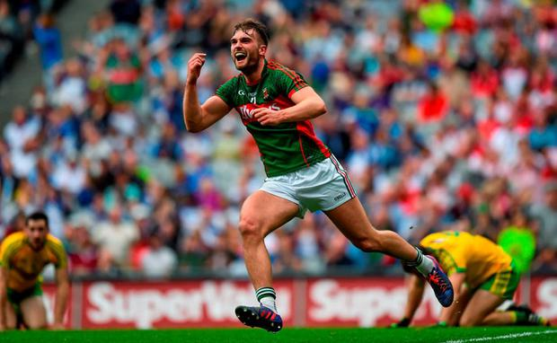 Aidan O'Shea celebrates after scoring his crucial goal against Donegal