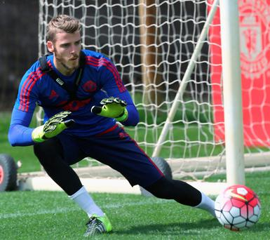 David de Gea during a first team training session