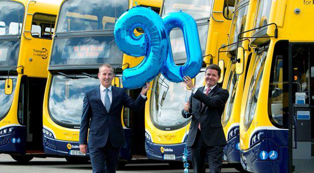 Minister for Transport, Tourism and Sport Paschal Donohoe TD, today (Tuesday) at Dublin Bus Central Control, Broadstone, officially unveiled 90 new state of the art double decker buses which will operate on routes across Dublin