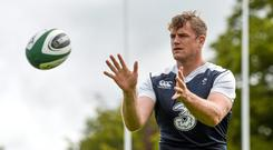 Ireland's Jamie Heaslip in action during squad training. Ireland Rugby Squad Training. Carton House, Maynooth, Co. Kildare. Picture credit: Brendan Moran / SPORTSFILE